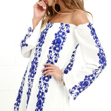 Sun Love Blue and Ivory Embroidered Off-the-Shoulder Dress