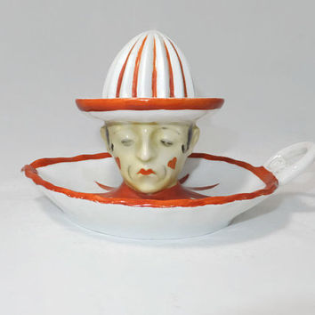 Vintage Clown Reamer Juicer - German Goebel Circus Clown Mime, Figural Ceramic Collectible Kitchen,