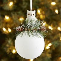 Owl Top Glass Ball Ornament