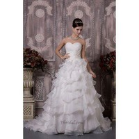 Gorgeous A-Line Sweetheart Chapel Train Organza Wedding Dress WAL06409