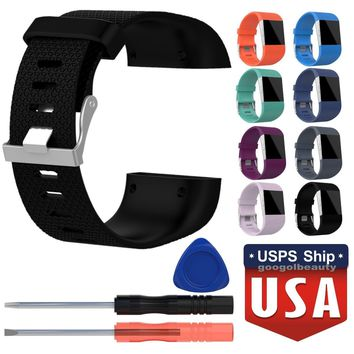 Fitness Silicone Replacement Band Wrist Strap + Tool For Fitbit Surge Tracker