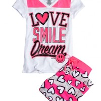 Love Smile Dream Capri Pajama Set | Girls Capri Sets Pajamas | Shop Justice