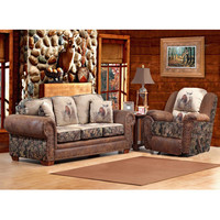 Chelsea Home Glendale 2 Piece Living Room Set in Trophy Buck - Camo - Pinto Tobacco