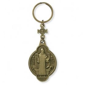 "Religious and Catholic St. Benedict Prayer Key Chain. Material: Zinc Alloy Size: 4 1/2"" L."