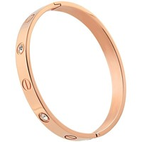 OMFEE Stainless Steel Screw Head Bangle Bracelet With Stone for Men and Women Oval 6mm Wide Rose gold