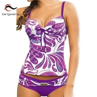 Tengweng 2018 Purple floral Women Tankini set Padded Two piece Swimwear Female Swimsuit Bathing suit Plus Size Bikini 5XL