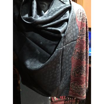 Nemesis Vintage Black and Red Paisley Brocade Pashmina Scarf Wrap shawl