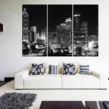 Extra large canvas print, Atlanta city skyline art canvas home decoration, black and white wall art, bedroom wall art print canvas  Qn49