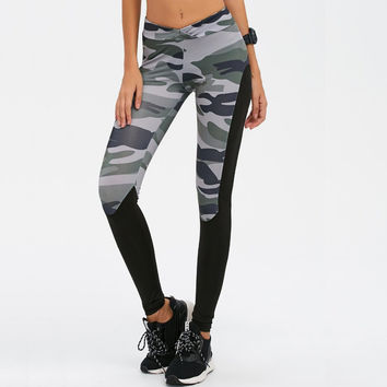 2017 New Women Camouflage Sporting Leggings Print Fashion Patchwork Elastic Skinny Fitness Leggings Sporting Clothing For Women