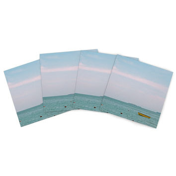 "Ann Barnes ""Castaway"" Teal Coastal Indoor/Outdoor Place Mat (Set of 4)"