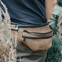 Leather Fanny Pack | Leather hip pouch | leather waist bag | leather hip bag