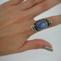 Vintage Metal Faux Marbled Blue Stone Ring