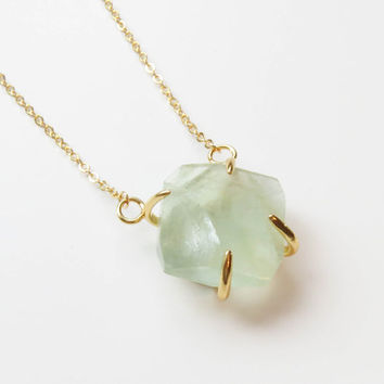 Light Mint Necklace | Fluorite Necklace | Light Green Necklace | Green Gemstone Necklace | Mint Gemstone Necklace