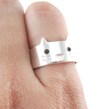 Simple Kitty Cat Face Shaped Animal Ring in Silver | Animal Jewelry