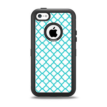 The Moracan Teal on White Apple iPhone 5c Otterbox Defender Case Skin Set