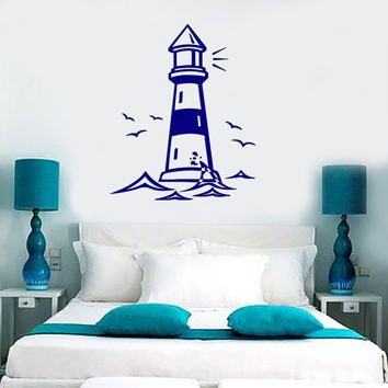 Vinyl Decal Castle Lighthouse Birds Ocean Gull Living Room Beach House Decor Wall Sticker Unique Gift (z2522)