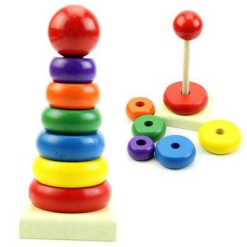 Wooden Baby Toys Rainbow Tower Ring HB88