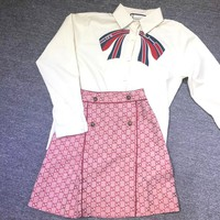 GUCCI Poplin shirt with Gucci stripe bow + GUCCI GG High Waist Skirt