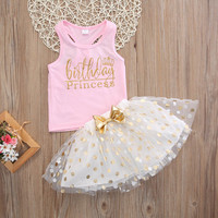 "Adorable Little Girls ""Birthday Princess"" Pink and White Gold and Tutu Skirt with Polkadots 2Pc Set 2T to 6Yr"