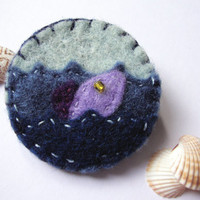 Felt fish brooch, blue pin with golden bead