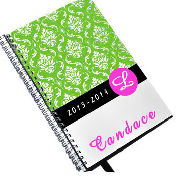Lime Green Damask Day Planner 2013 2014 Personalized and Monogram Appointment Notebook
