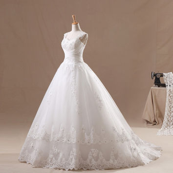 Organza Ballgown with Structured Straps and Layered Lace Appliqued Skirt
