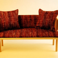 Miniature Mid-Century Modern Mod Brown Sofa/Couch with Pillows  (1/6 playscale dollhouse diorama play mini doll furniture)