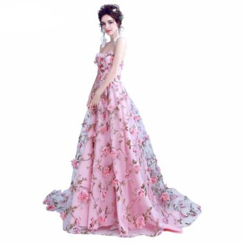 Pink Flowers Prom Dresses Long Strapless Sweetheart Evening Gown Party Halloween