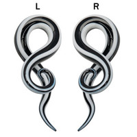 Ear taper black and white Glass spiral twisted