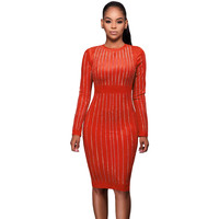 Orange Faux Suede Front Long Sleeves Midi Dress LAVELIQ