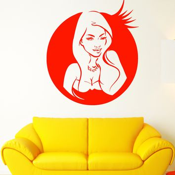 Vinyl Wall Decal Wink Eye Sexy Hot Girl Woman Lips Hairstyle Stickers (2185ig)