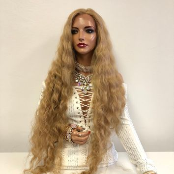 Blond Swiss Front Lace Wig | Long Waves Soft Layered Hair | River 1018