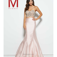 Mac Duggal 62346M Blush Strapless Sweetheart Satin Two Piece Dress 2016 Prom Dresses