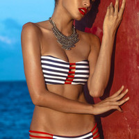 Blue and White Bandeau Stripe Bikini with Red Strappy Cut-Outs