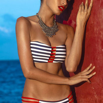 Black and Red Strappy Bandeau Triangle Bikini