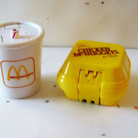 Vintage McDonalds Toys- Both Dinosaur Transformers - Chicken McNuggets and Soft Drink  - 2 in lot