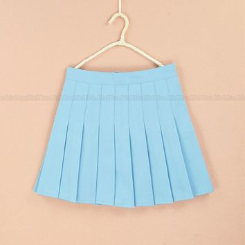 Summer fashion high waist Plus size XS-4XL pleated skirts Solid Color a-line sailor skirt for girls