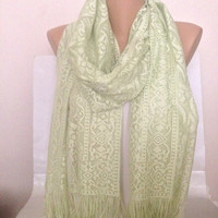 Pistachio Scarf - Green Lace Scarf Shawl - Green Wedding Scarf - Lace Shawl - Fringed Long Infinity Scarf - Green Bridal Accesdories