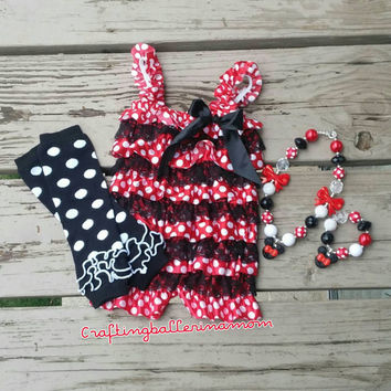 Minnie Mouse Birthday Outfit - Romper - First Birthday - Second Birthday - Red White Polka Dot - Lace Petti Romper - Photo Prop - Cake Smash