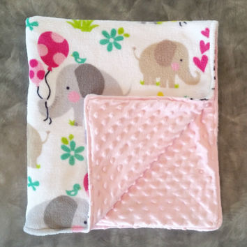 Pink Minky Baby Blanket - Grey Elephants with Balloons and Flowers