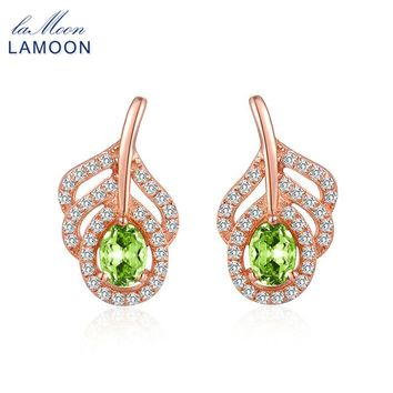 LAMOON S925 Silver Stud Earrings Classic Leaf 100% Natural Green Peridot Gems Fine Jewelry for Women Brincos Party Earring EI021