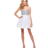 White Tulle Rhinestone Strapless Lace Up Dress 2015 Homecoming Dresses