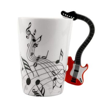 Ceramic Mug Cup Musical Instrument Note Style Coffee Milk Cup Christmas Gift