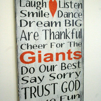 Family Rules Sign Giants Team Sports Sign Sports Sign Mancave Distressed Wood Shabby Chic Sign Rustic Sign White Orange