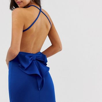 City Goddess bow back detail strappy mini dress | ASOS