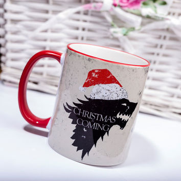 Christmas is coming Winter Game of Thrones mug Drink Tea Coffee Stark House gift