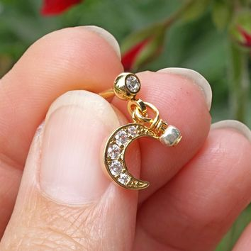 Sparkly Gold Crescent Moon Cartilage Earring Tragus Helix Piercing