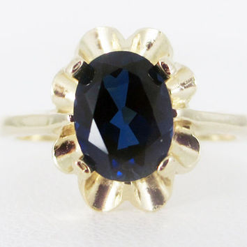 Blue Sapphire 14k Yellow Gold Oval Crown Ring, September Birthstone Ring, Oval Blue Sapphire Ring, Solid 14 Karat Gold Ring, Blue Sapphire