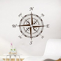 Nautical Compass Wall Decal Navigate Ship Vinyl Sticker Decals Compass Rose Ocean Sea Living Room Bedroom Decor Nursery Wall Decal NV91 (17x17)