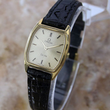 #Vintage 1985 #Womens #Classic #Omega Lady #Deville Dress #Watch with Gold Face Dial and Markers